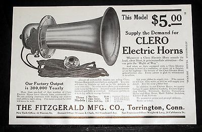 1914 Old Magazine Print Ad, Fitzgerald, Clero Electric Horn, A Loud Clear Blast!