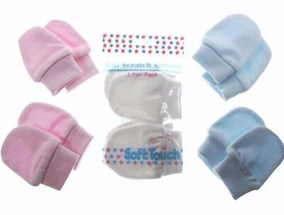2 Pairs Baby Anti Scratch Mittens Mitts with Cuffs 100% Cotton Blue White Pink