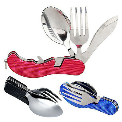 Portable Compact Folding Spoon Knife Fork 3 in1 Utensils Set Travel Camping Set