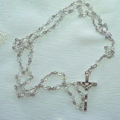 Jewellery Silver Tone Metal & Glass Crystal Bead Set Of Rosary Beads 358