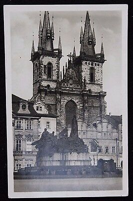 Nice Vintage Real Photo Czech Postcard The Hus Monument Prague 1936