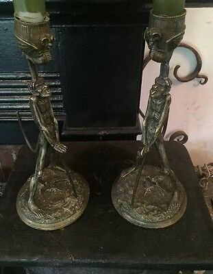 19th Century OccultFrench Pair of Bronze  Devils /Mephisto Candle Holders