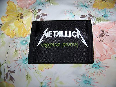 NEW Vintage 80s METALLICA CREEPING DEATH Billfold Tri Fold Wallet Velcro Closure