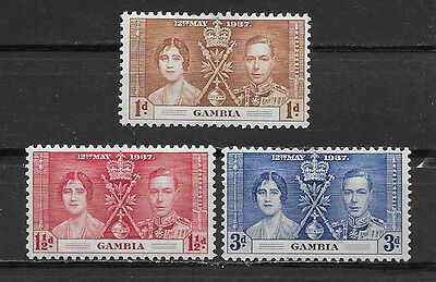 Gambia , Coronation Issue , 1937 , Set Of 3 Stamps , Perf , Vlh