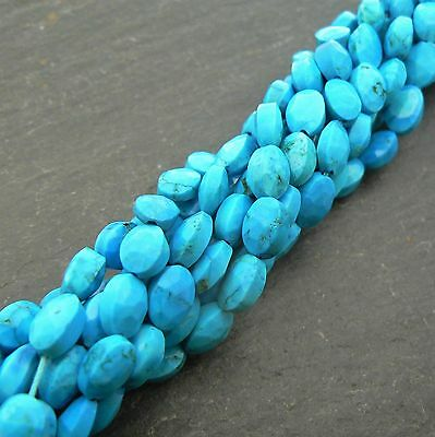 "Natural Turquoise Faceted Oval Beads 15"" Strand Semi Precious Gemstone"