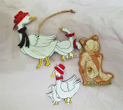 Lot of 3 Wooden Ornaments Painted Goose & Precious Moments Girl with Goose