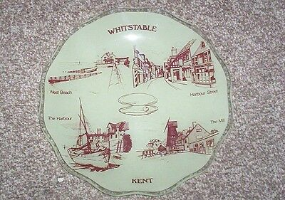 Whitstable Kent Interest - Large Vintage Glass Dish With Local Views