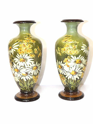 Antique Circa 1880-1895 Pair Of Doulton Faience Vases Hand Decorator Kate Rogers