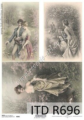 Rice paper for Decoupage/A4 size/ITD/lovers vintage valentines day 696
