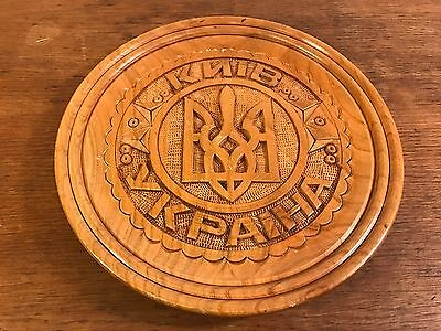 KNIB YKPAIHA Ukraine Hand Carved Decorative Wood Plate Plaque 8.5""