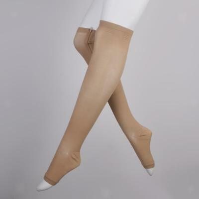 Zip Compression Socks Reduce Leg Swelling Open Toe Stockings for Office Plane