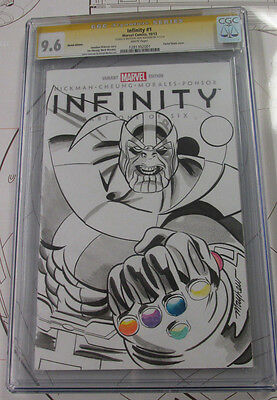 Infinity Part 1 CGC 9.6 Cover Sketch w watercolor of Thanos by MIKE MAYHEW 2013