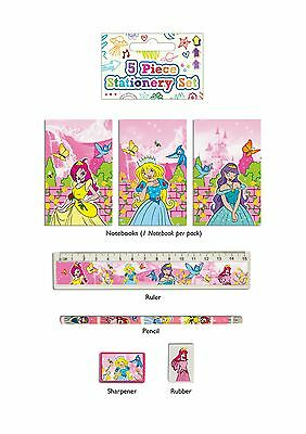 PRINCESS STATIONERY SET  x 24. 5 ITEMS  PARTY BAG FILLERS. WHOLESALE JOB LOT.
