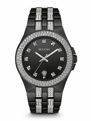 Bulova Men's 98B251 Swarovski Crystal Accents Black Bracelet Dress 42mm Watch
