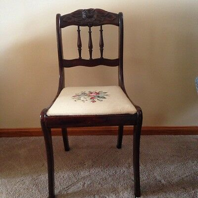 Antique Wood Carved Rose Back Accent / Salon Chair 19th Century