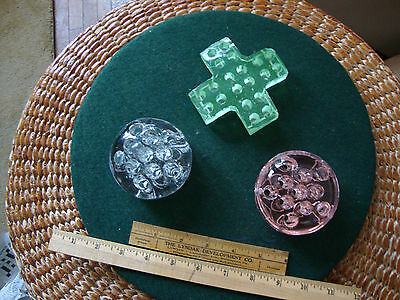Three antique glass flower frogs