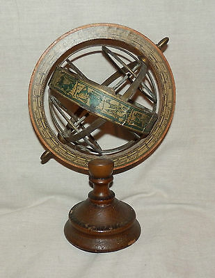 Antique wood and brass astrological orrery