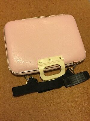 Baby Pink Imitation Leather 16 Inch Laptop Carry Case With Shoulder Strap