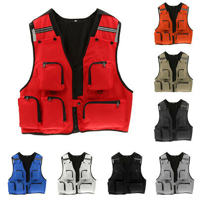 Multi-pockets Hunting Fishing Vest Photography Waistcoat with Reflective Strips