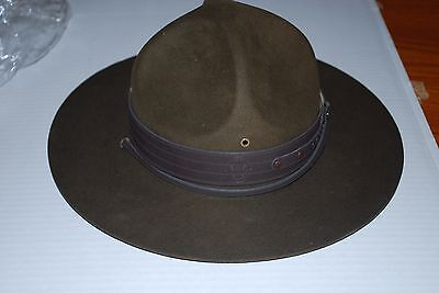NEW Boy Scouts of America Leader camp hat w/leather strap size 71/8 w/press