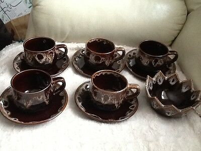 Honiton set of 5 cups and saucers and a sugar bowl
