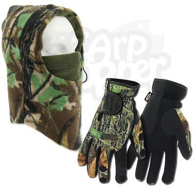 Fishing Neoprene Gloves With Folding Fingers + Deluxe Camo Snood Hat NGT