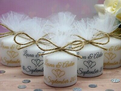 Personalised Votive Candle Wedding Favours Vintage Rustic Choice Of Image Set 10