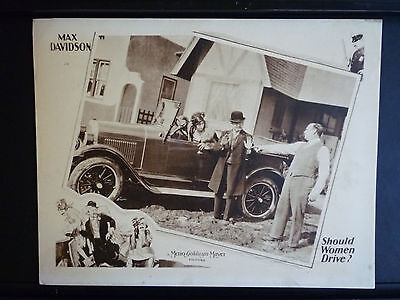 1928 Should Women Drive? Exc Cond Lobby Card - Silent - Hal Roach Men In Drag