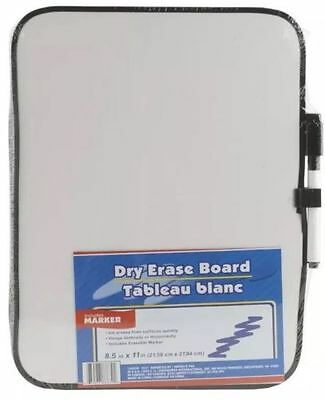 """DRY ERASE WHITEBOARD with Marker 8.5"""" x 11"""" LIGHT DUTY White Board"""
