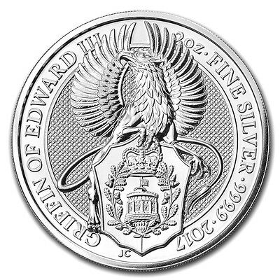 2oz (Troy) Griffin of Edward III, Queens Beasts, 999.9 Fine Silver Coin, 2017