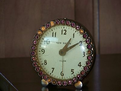 New Haven Purple Rhinestone Jeweled Alarm Clock