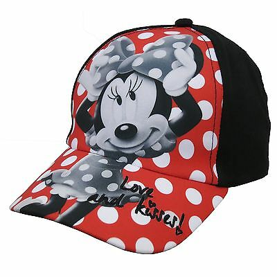 Disney Girl's Red/Black/White Cotton Polka Dot Minnie Mouse Baseball Cap (Sizes