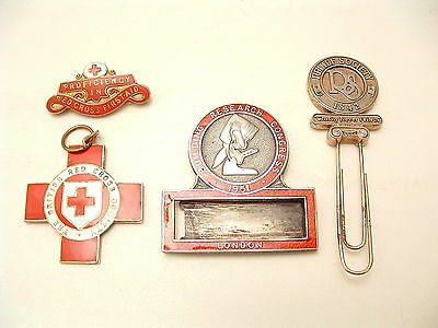 VINTAGE BADGES Rare '51 London Building Congress + RS Relief Society + Red Cross