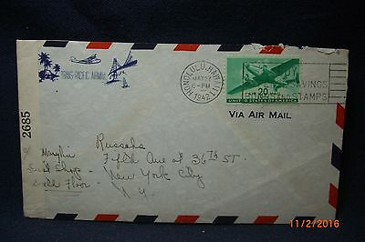 """1942 Air Mail Censored Env Honolulu Hawaii to """"Russeks 5th Ave"""" NYC"""