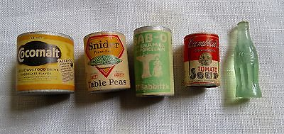 LOT (5) Vtg Dollhouse Miniature Antique Snider Bab-o coke Campbell's soup Cocoma