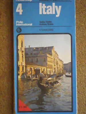 A Vintage Map of Italy published by Philip International, 1982