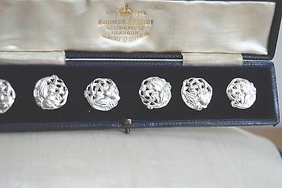 Antique Art Nouveau Set Of Six Silver Buttons By Deakin& Francis In Fitted Case