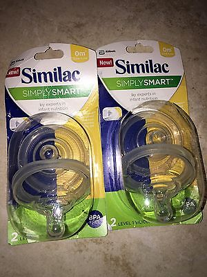Lot of 4 Similac Simply Smart Bottle Nipples Slow Flow 0m+ Level 1 NEW