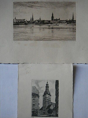 Two Antique Prints of Old Riga, Latvia