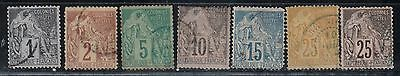 1881-86 French colony stamps, 3c to 25c used, SC 46-51, 53-4
