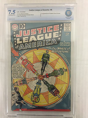 DC Justice League of America #6 CBCS 7.5 Off-White/White Pages 1961 Not CGC