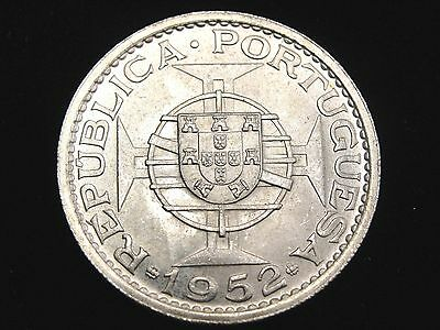 1952 Macao 5 Patacas Silver Coin Looks UNC Km #5