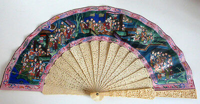Antique Chinese Gild Lacquer 100 Faces Hand Painted Both sides Fan Canton