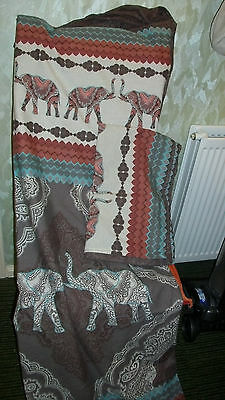 elephant double size quilt cover and 2 pillow cases brown/mix