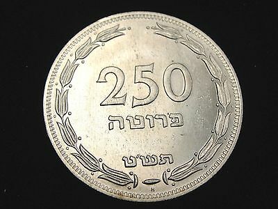 1949 Israel 250 Prutot Silver Coin Looks AU+ Km #15 A