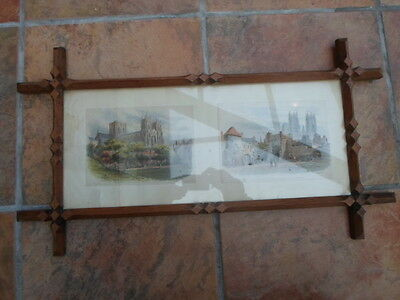 Vintage arts and crafts picture frame with glass and prints of York Minster
