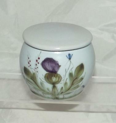 Buchan Pottery Thistle Bluebell & Heather Pattern Sugar or Preserve Pot with Lid