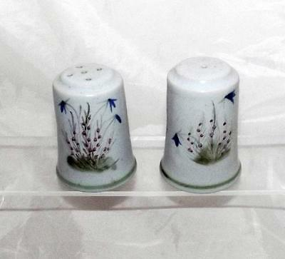 Buchan Pottery Heather and Bluebell Pattern Salt & Pepper Set made in Stoneware