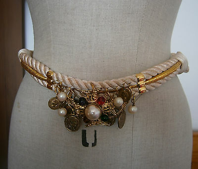 VINTAGE 1980's CAROLYN TANNER GOLD & CREAM WRAP BELT JEWELS GOLD COINS PEARLS