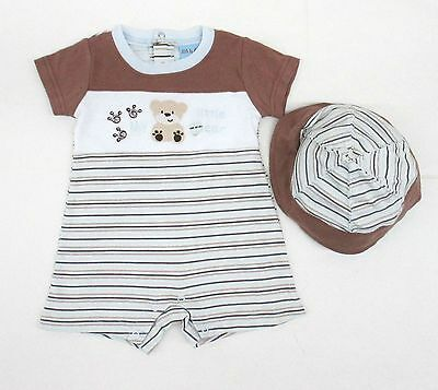 Romper Outfit Hat Baby Boy Months Newborn 2 Pcs Clothes One Bodysuit Jumpsuit